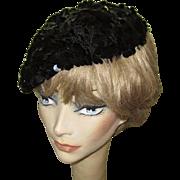 Sequined Hat / Beret, 60's Crochet, Black Pailliettes