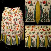 Vintage Apron, Corn Ears, Pumpkins & Harvest Border Print