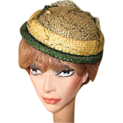 Vintage 40's Hat, Chanda, Green Brimmed Summer Straw