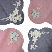 Applique Flowers, Handkerchief, Gray & Pink