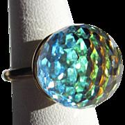 Vintage Crystal Ring, Faceted Orb, Large Blue Green