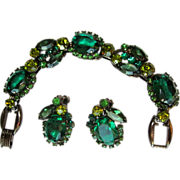 Juliana Bracelet & Earrings, Green, Japanned Demi,  D&E Rhinestone