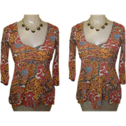 Sheer Knit Blouse, Vintage 80's Hippy, Boho Throwback