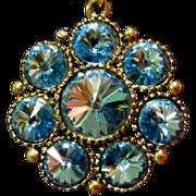 Rivoli Rhinestone Necklace, Blue Flowerette Pendant