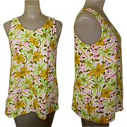 80's Blouse, Spring Sleeveless Top, Flower Power