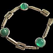 Art Deco Sterling Bracelet, Rhinestones & Gumdrop Cabs