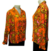 Vintage Blouse, Mod Print, Alex Coleman, 60'S 70'S