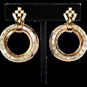 Trifari Rhinestone Earrings, Hoops, 50's, 60's