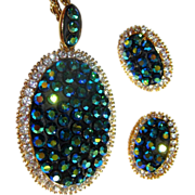 Rhinestone Necklace & Earrings, AB Blue Vintage Demi