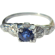Diamond Sapphire Ring, 18K Deco