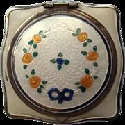 Art Deco Guilloche Enamel Compact, Rouge & Powder