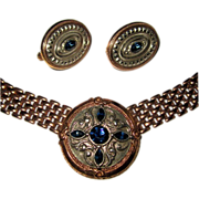 Rhinestone Necklace & Earrings, Gothic Revival, Rose Gold Color