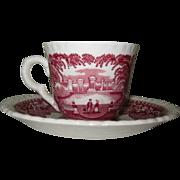 Mason's Pink Vista Demitasse Cup & Saucer England 1940's
