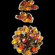 D & E Juliana Rhinestone Brooch & Earrings, Neon Autumn