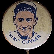 Ki Ki Cuyler 1930's Cracker Jack Baseball Pinback, Chicago Cubs Button