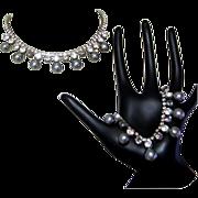 Rhinestone Necklace & Bracelet, 50's, Black Glass Pearls