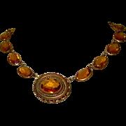 Art Nouveau Necklace, Filigree, Topaz Yellow, Czech Glass