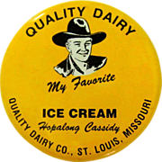 SOLD Hopalong Cassidy Button, 1950 St. Louis Dairy