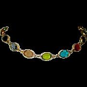 80's Crystal Necklace, Equal Sided, Bezel Set, Ovals