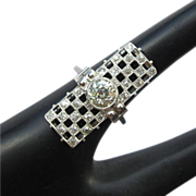 Platinum Diamond Ring, Art Deco Custom, 1.7 cts