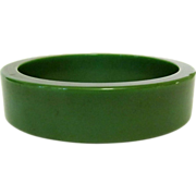 Green Bakelite Bracelet, Sliced Bangle