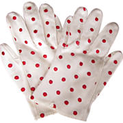 White Cotton Glove, Red Polka Dots, Embroidered, Vintage