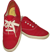 Vintage 80's Keds Sneakers, Red Canvas Shoes 7 1/2