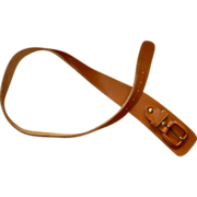 Vintage Leather Belt, Wide Buckle, Asymmetrical