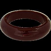 Bakelite Bangle, Burgundy Bracelet, Vintage Domed