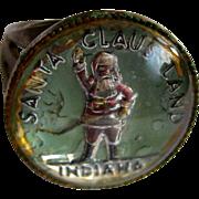 Santa Claus Land, Indiana, Vintage Glass Intaglio Ring