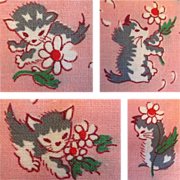 SOLD 50's Fabric, Kittens & Flowers, 4 yds Cotton - Red Tag Sale Item