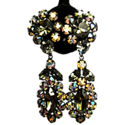 Vintage Rhinestone Earrings, Japanned Drops