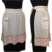 Vintage Party Apron, Sheer Cotton, Half