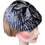 1940's Sequined Hat / Cap, Art Deco, Steel Blue
