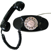 Vintage Princess Phone, Black, Rotary Dial, Authentic