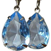 Blue Crystal Earrings, Vintage Drops