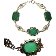 Sterling Chrysoprase Bracelet, Marcasites & Filigree Deco