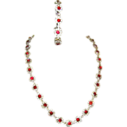 SOLD Eisenberg Rhinestone Necklace and Bracelet, Ruby Daisy. Vintage