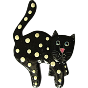 Vintage Cat Pin, Polka Dot Pretty