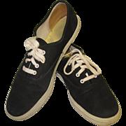 Vintage 80's Keds Sneakers, Black Canvas Shoes 7.5