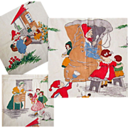 Vintage Fabric, 40's Nursery Rhyme Illustrations, Wall Hanging