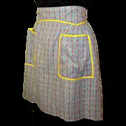 Vintage Half Apron, Yellow Trim, Jadite Green