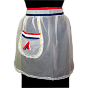 Sheer Apron, Lace, Red, White & Blue Ribbons, Vintage Patriotic