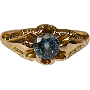 Victorian Gold Ring, 10K, Synthetic Aquamarine