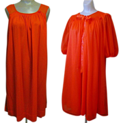 Peignoir Set - 60's Vasserette, Chiffon Gown & Robe