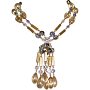 Crystal & Faux Pearl Necklace,Tassel 60's Vintage