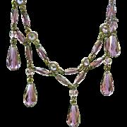 Victorian Crystal Festoon Necklace, Lavender Art Glass Drops