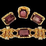Rhinestone SC Twilight Parure, Bracelet, Earrings, Ring