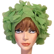 60's Floral Head Scarf, Lime Green Sheer Nylon
