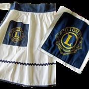 Vintage Lyons Club Apron, 1950's